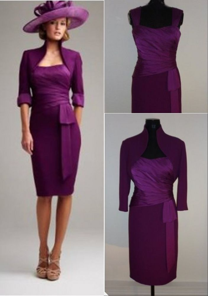 Plum knee length mother of the bride outfits wedding guest for Jacket dresses for wedding guest