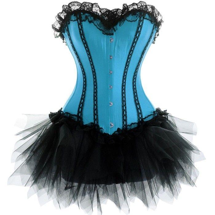 Turquoise Corset with Black Tutu | Burlesque Costumes