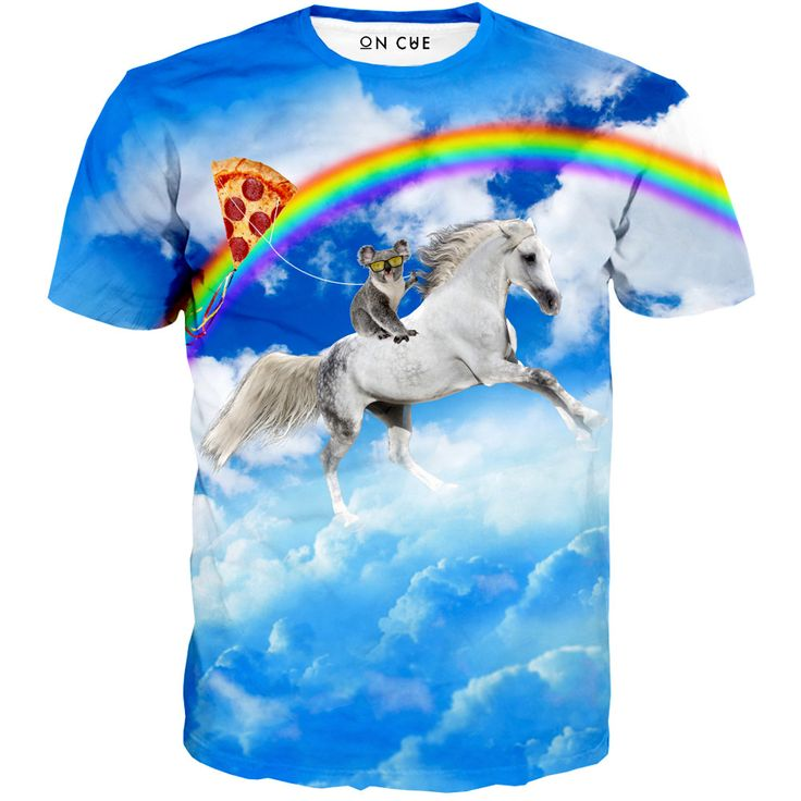 Our Koala man t-shirt is freaking awesome. This rave t-shirt is beyond crazy. The design is made of a koala riding a unicorn through the skies holding a pizza balloon near a rainbow. Who does crazy th