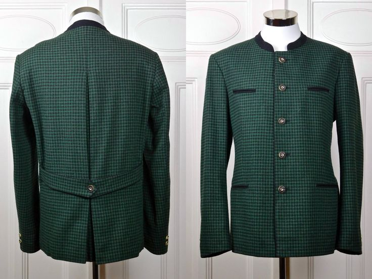 Vintage Trachten Jacket, Austrian Tyrol Green Black Check Blazer w Faux Antler Buttons, Bavarian Octoberfest Janker Jacket: Size 42 US/UK by YouLookAmazing on Etsy