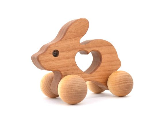Wooden Bunny Push Toy  Waldorf Wood Animal Toy   by KeepsakeToys, $24.00