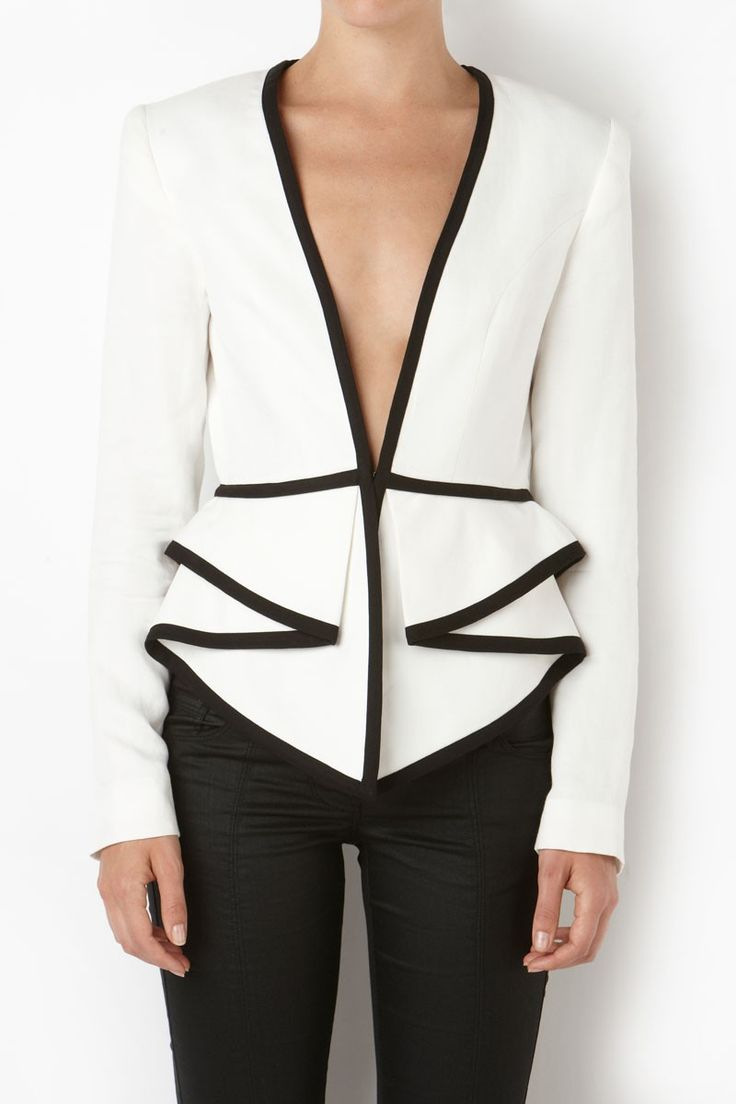 I think I could figure out how to remake this jacket. I love the black edges and the ruffle!  Sass & Bide two dimensions tailored jacket with peplum detail