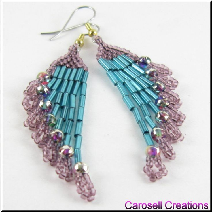 Ripples Delight Beaded Chandiler Earrings TAGS - Jewelry, Earrings, Beaded, purple, teal, carosell creations, glass, seed beads, dangle, chandelier, pierced, accessories, holiday gift idea, weaved, woven, bugle, gypsy, boho, belly dancer, hippie, sexy, evening, ladies, custom orders, spring, casual, chic, women, etsy, native american indian, southwestern