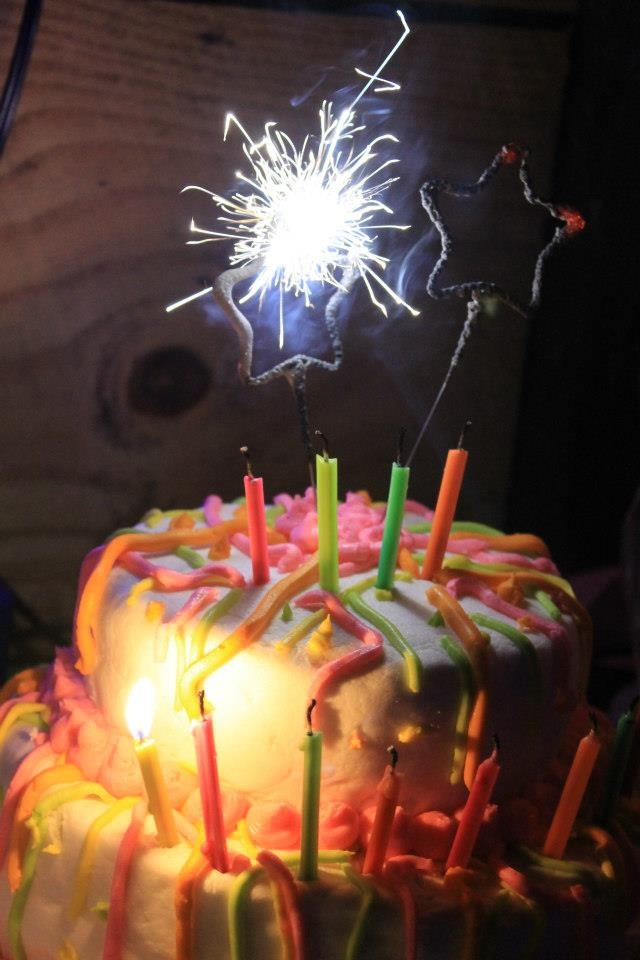 Kristin's Glow in the Dark 13th Birthday Cake with Sparklers