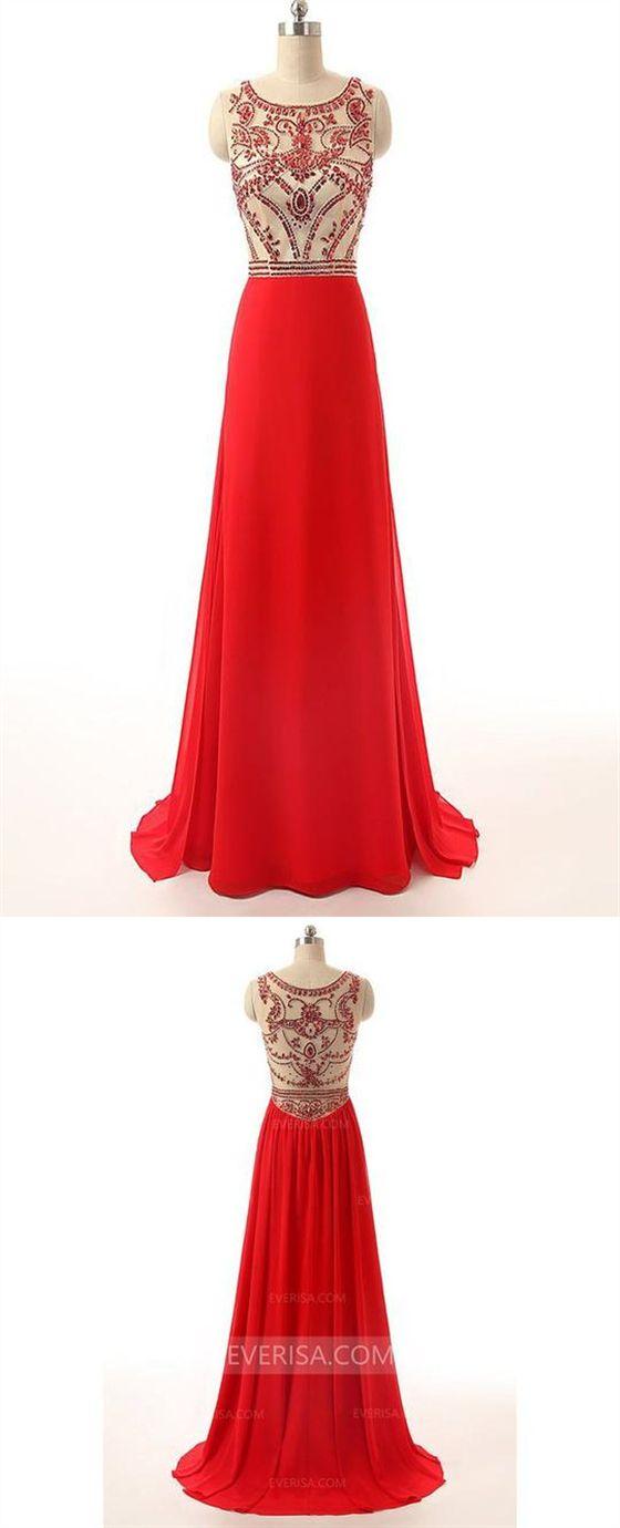 ecfa44f3623 Red Scoop Neck Sleeveless Beaded Prom Dresses Long Evening Dresses   promdress  prom  dress  dresses  promdresses  evening