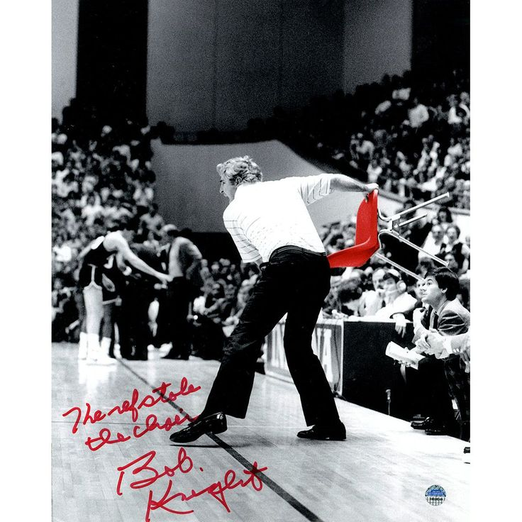 Bob Knight Signed Throwing Chair B&W w/ Red Chair 8x10 Photo w/ 'The Ref Stole The Chair' Insc.