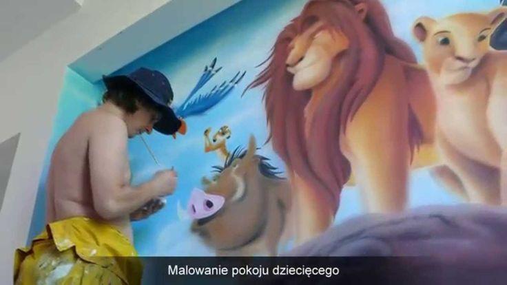 Artystyczne malowanie ściany, Lion King, Malowanie ściany w pokoju dziecięcym, mural ścienny przestawiający motyw z bajki Król Lew