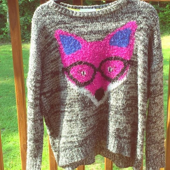 Nerdy / Hipster Fox Sweater Warm Loose fitting cotton woven sweater. Rewind Sweaters