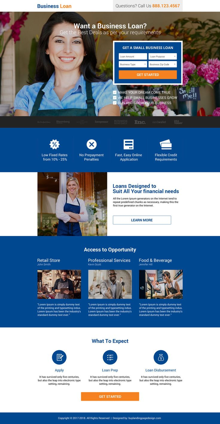 business finance small lead form landing page