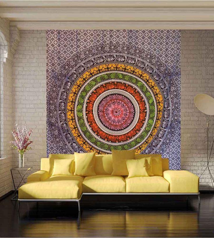 Get beautiful mandala wall tapestry online on handicrunch. #walltapestry #homedecor #walldecor #mandalatapestry #tapestry