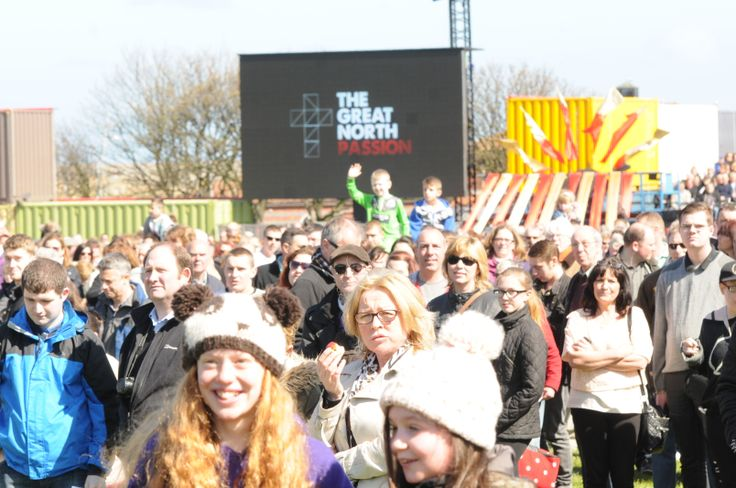 Lots of happy smiley people gathered in Bents Park, South Shields on the beautiful Good Friday morning 2014 to witness the Great North Passion.