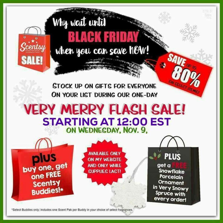 Don't miss out!!! This will be an amazing sale!! Items up to 80% off and Buddy's are BOGO with your choice of a Scent Pak!!! Plus you get a free ornament!!!! This is way better than Black Friday!! Get your Christmas shopping done tomorrow! This sale starts at 12pm eastern time zone! Don't miss out! It can only be done through my Web page so please click the link below!! http://daisygirl.Scentsy.us