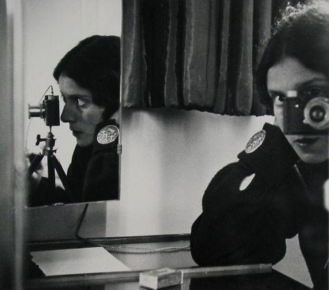 "Ilse Bing.   Self-Portrait in Mirrors.1931.   Gelatin silver print, 10 1/2 x 12"" (26.8 x 30.8 cm).   The Museum of Modern Art, New York. Joseph G. Mayer Fund. © 2010 The Ilse Bing Estate/Courtesy Edwynn Houk Gallery"