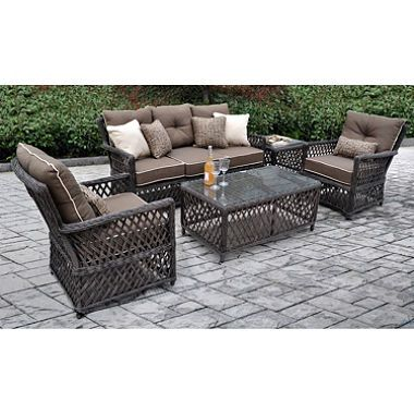 Renees All Weather Synthetic Wicker 5 Piece Deep Seating Set With Premium Sunbrella Fabric
