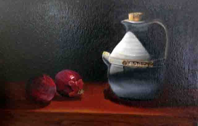 Peter Barker  Port Jug with Spanish onion 30x45cm Oil on Canvas