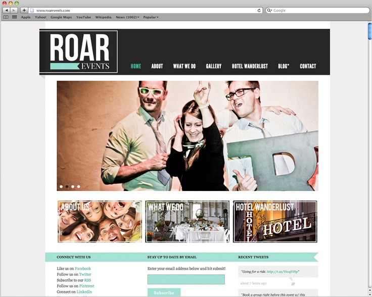 roar events website design