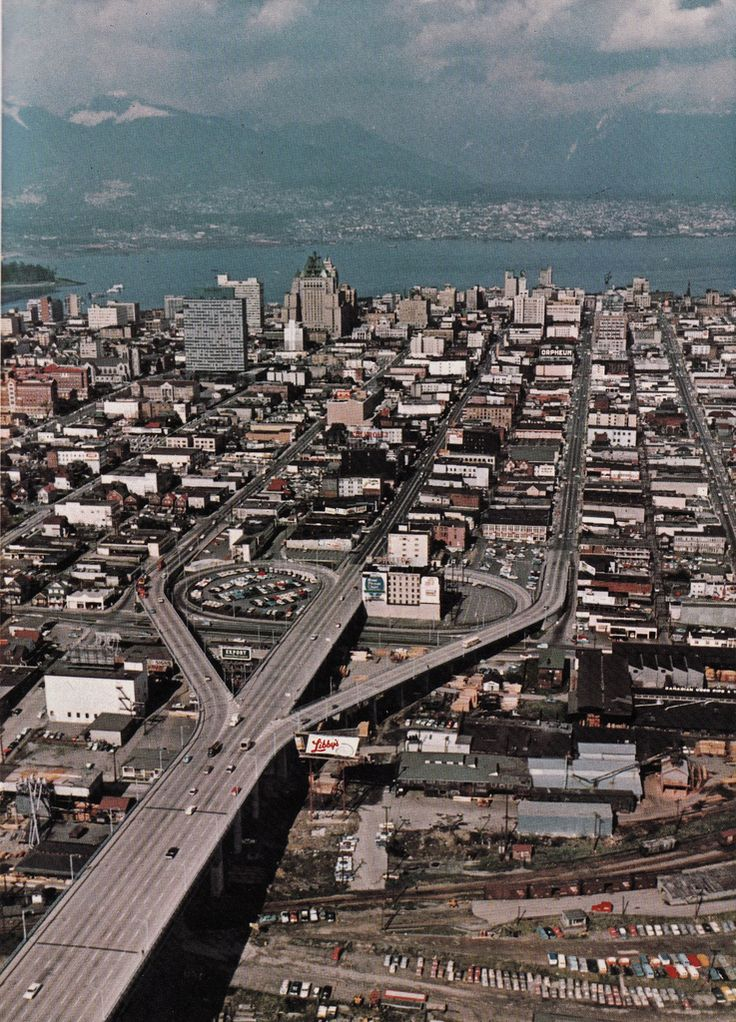 Aerial view of north end of Granville Street Bridge and downtown Vancouver, BC, circa-1964. [B.C. Gov't photo]