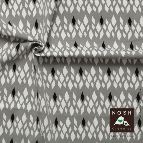 Gray SALMIAKKI print designed for NOSH by Annika Hiltunen.  Organic cotton jersey