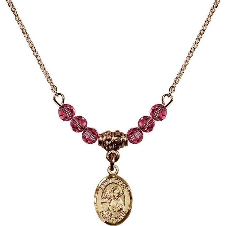 18-Inch Hamilton Gold Plated Necklace with 4mm Rose Pink October Birth Month Stone Beads and Saint Mark the Evangelist Charm. 18-Inch Hamilton Gold Plated Necklace with 4mm Rose Birthstone Beads and Saint Mark the Evangelist Charm. Pink Rose represents Pink Tourmaline, the Birthstone for October. Hand-Made in Rhode Island. Lifetime guarantee against tarnish and damage. Hamilton gold is a special alloy designed to have a rich and deep gold color.