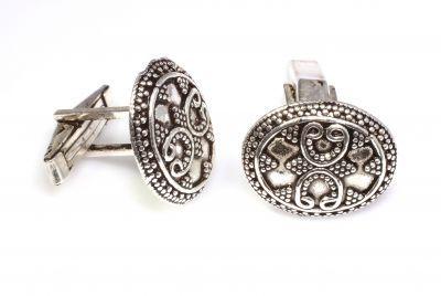 925 Ayar Gümüş Güverseli Elişi Kol Düğmesi
