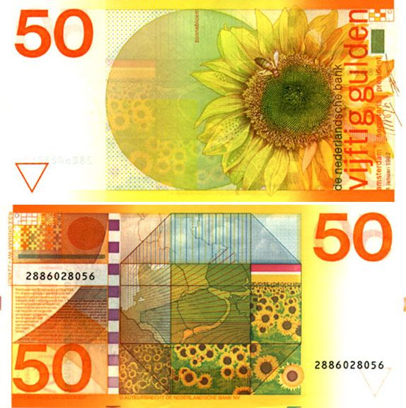 This former currency of The Netherlands was replaced by the euro on January 1, 2002. Among the bills, whose loss the Dutch surely mourned, was this bright yellow sunflower-clad 50-guilder banknote, which was designed by Jaap Drupsteen in the 1990s. The series, which portrayed an intricate pattern of geometric designs, including radio schema and resistors, boasted a colorful array of sunflowers, lighthouses and birds were said to encapsulate classic Dutch artistry.