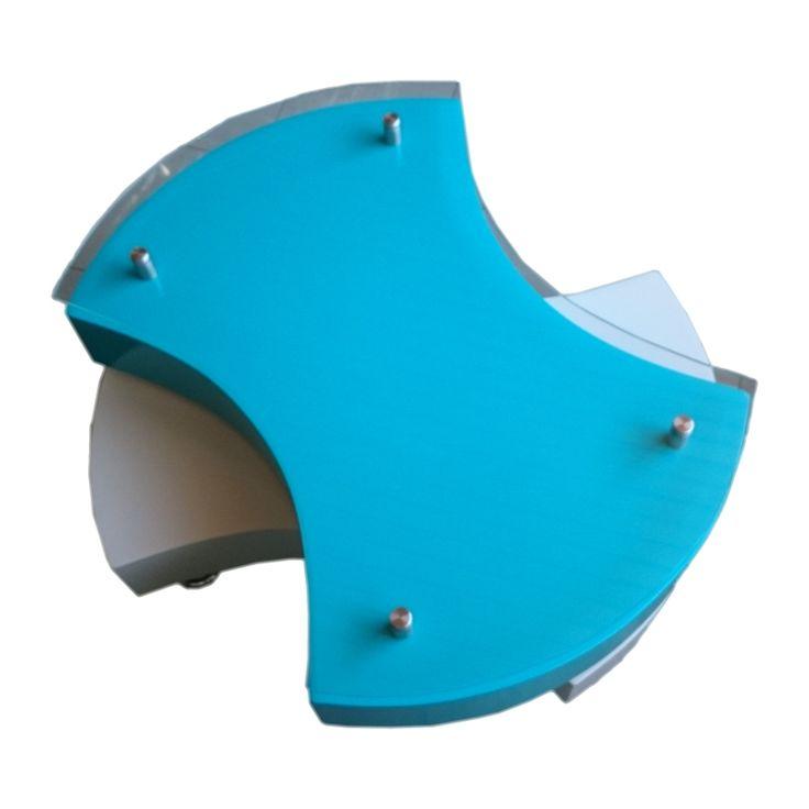Mesa de Centro Giratoria Blanco y Turquesa Mesas de centro para entrega inmediata excelentes acabados y calidad de materiales, si gustas de este diseño pero lo quieres en otros colores, puedes solicitarlo en nuestro sitio web