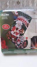 """Bucilla Santa's Stocking Kit de apliques de fieltro de Navidad de panadería 86437 Nuevo en paquete de 16"""""""