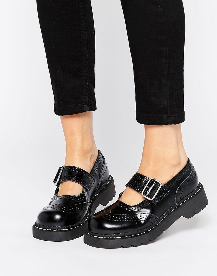 Image 1 of T.U.K. Wingtip Brogues Mary Jane Chunky Leather Flat Shoes