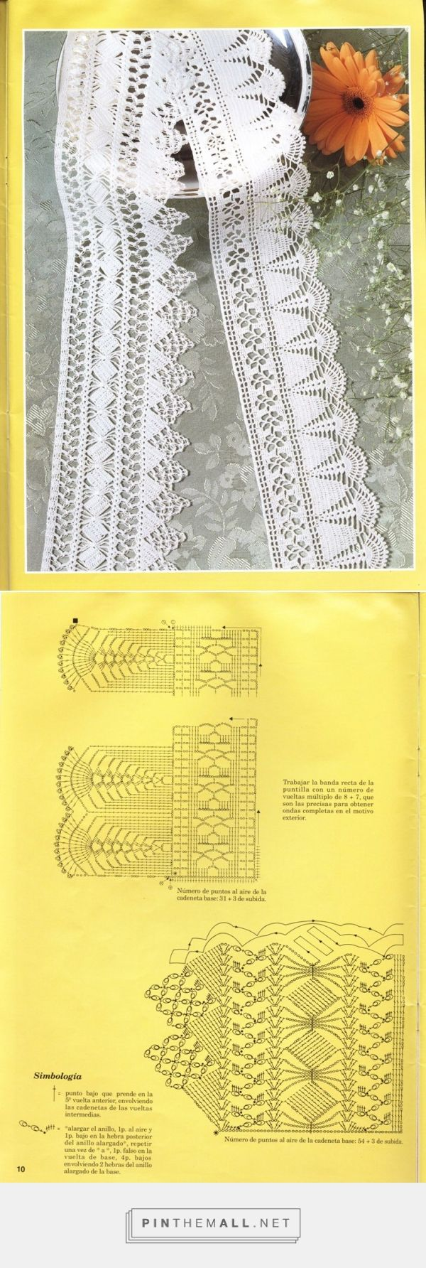Wide crochet lace edgings: deep shell with interlaced diamonds; oblique blocks with Solomon's Knot points.