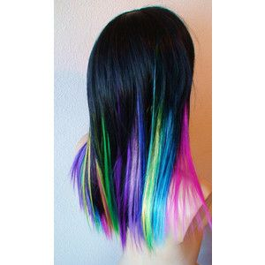 Holiday Sale Rainbow Ombre Wig Long Straight Black