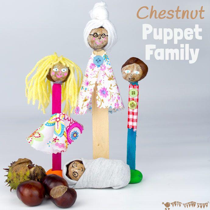 Fare un Famiglia Puppet con questo mestiere castagno divertente e creativo per i bambini.  Queste persone castagno daranno bambini ore di gioco immaginativo e narrazione.  (Mestiere Buckeye / mestiere conker)