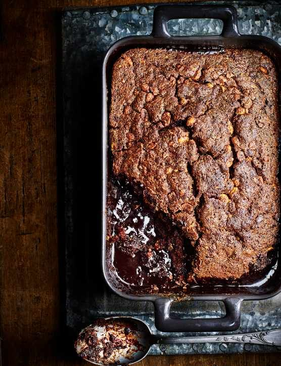 Peanut butter and banana self-saucing chocolate pudding  This chocolate self-saucing pudding, also known as surprise pudding, uses smooth peanut butter and banana to create this deliciously rich cake. Serve with some vanilla ice cream and enjoy!