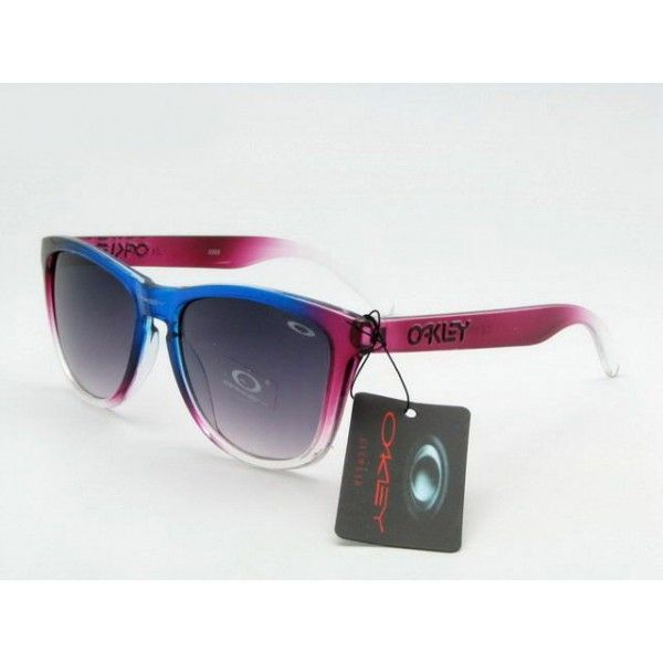 12 98 Oakley Frogskins Sunglasses blue rose bengal clear frame black lens Deal Extreme