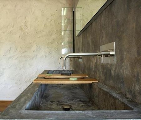 rethinking our master bath sinks. Think I'd rather do an integral trough sink w/ 2 faucets. Love these wooden trays.