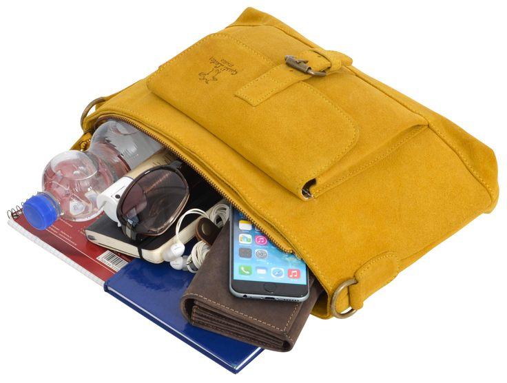 """Als praktische Tasche für das Büro oder für die Freizeit überzeugt """"Hannah"""". Die gelbe Tasche ist nicht nur durch ihre Farbgestaltung ein absoluter Blickfang, sondern auch, weil sie einfach toll ist - Ledertasche - Handtasche - Umhängetasche - Gusti Leder - 2H37-26-10"""