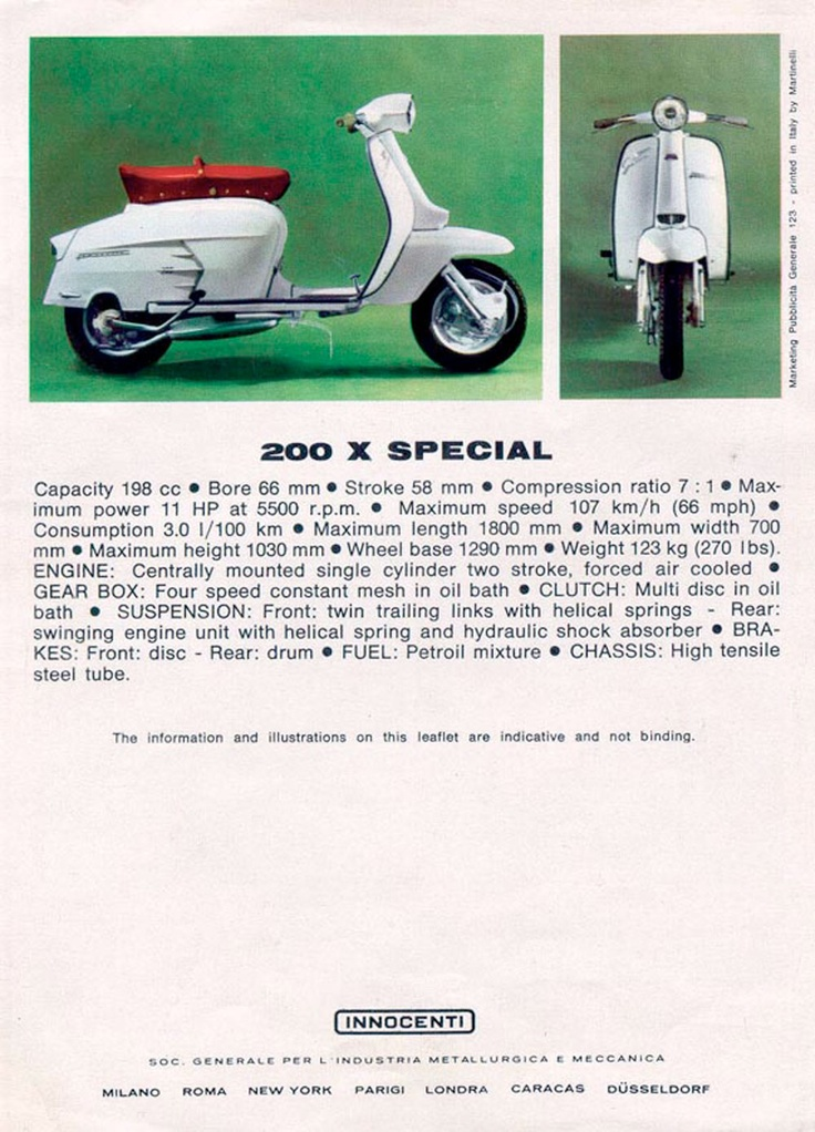 Lambretta 200 X Special (SX200) advertisement from the 1960's