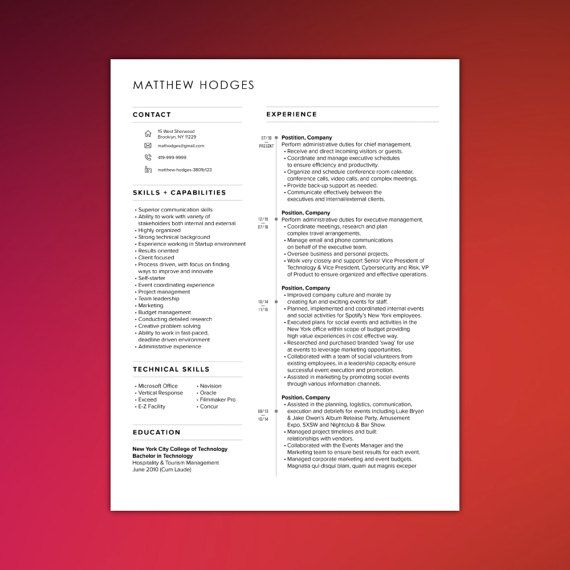 IT Resume Template Technology Resume 3 Page By ScribbledNapkin