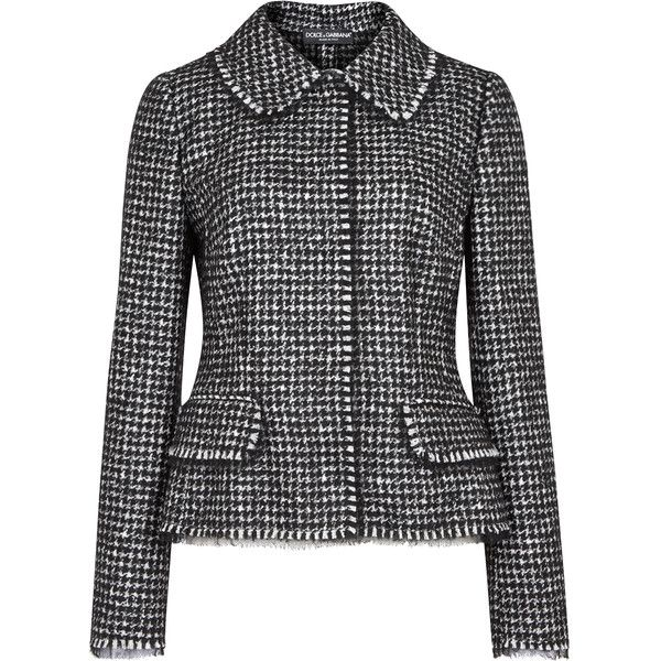 Dolce & Gabbana Houndstooth tweed jacket ($2,010) ❤ liked on Polyvore featuring outerwear, jackets, dolce gabbana jacket, hounds tooth jacket, tweed jackets, off white jacket and houndstooth jackets