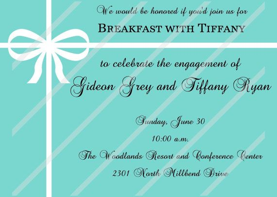 Breakfast with Tiffany Engagement Bridal Shower Party Custom Personalized Invitation Digital File Download