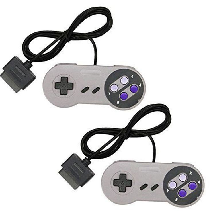 2 New 16 Bit Controllers for Super Nintendo Console SNES PAD in Retail Package #PTX