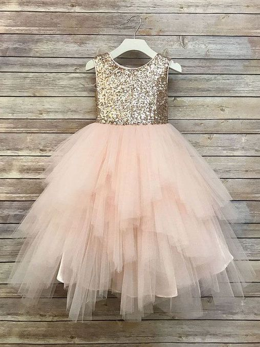 36b6f8cad3f Gold Sequin Flower Girl Dresses Blush Pink Cute Baby Flower Girl ...
