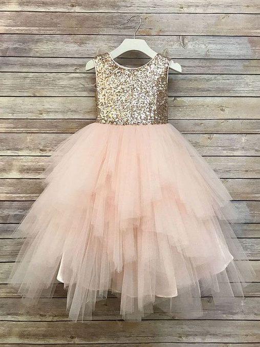 429e5bf6f0 Gold Sequin Flower Girl Dresses Blush Pink Cute Baby Flower Girl ...