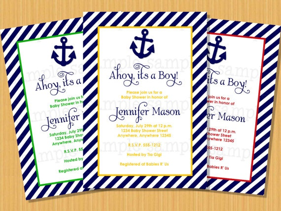 Nautical Baby Shower Invitation Ahoy by PartyPrintsx on Etsy, $13.00