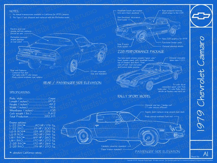 81 best model car blueprints images on pinterest vintage cars 1979 chevrolet camaro blueprint poster by westsidedesignstudio paint color codespaint malvernweather Image collections