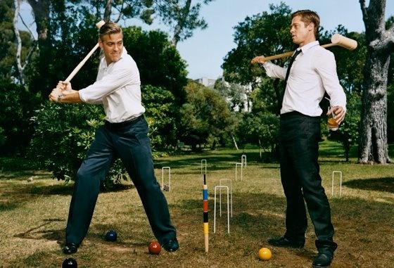 Funny portrait of Clooney & Pitt