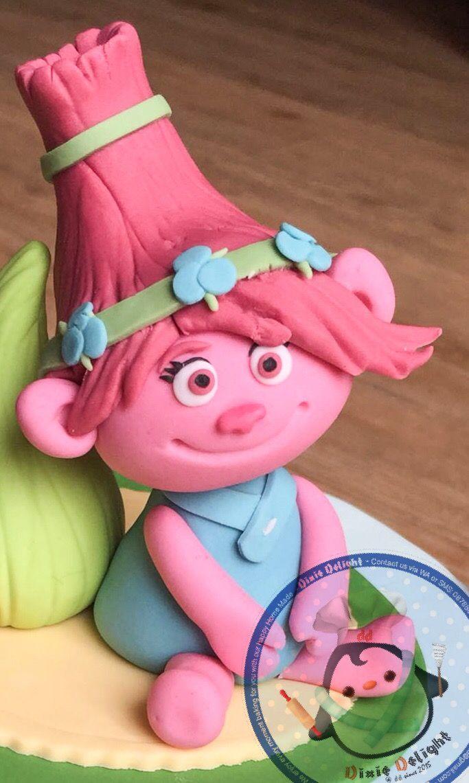 Poppy trolls fondant topper