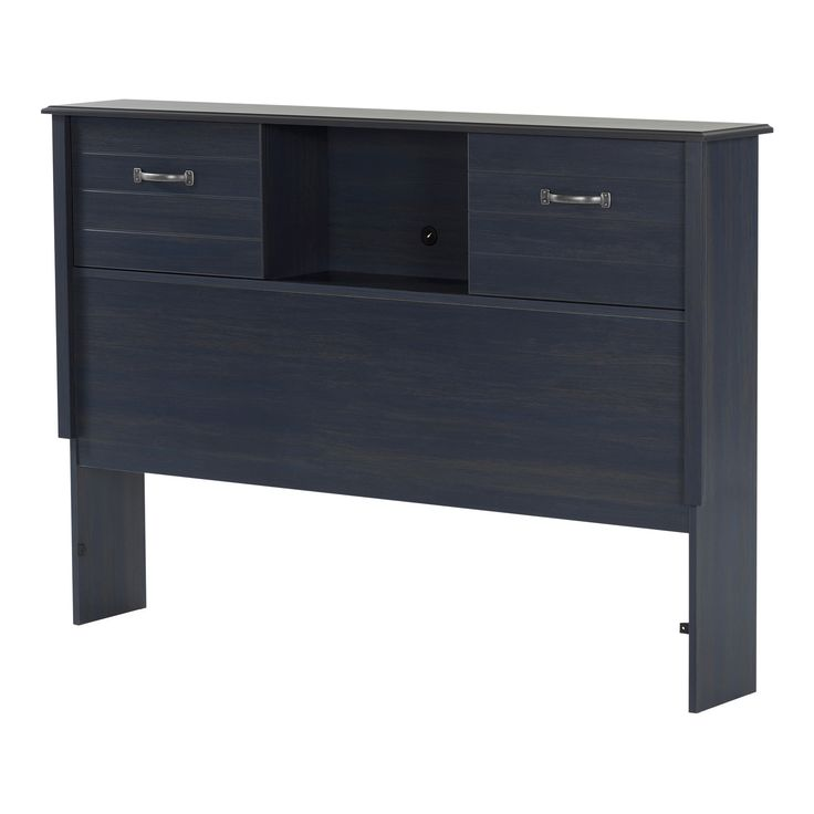 Ulysses Full Bookcase Headboard with Sliding Doors - 54''- Blueberry - South Shore