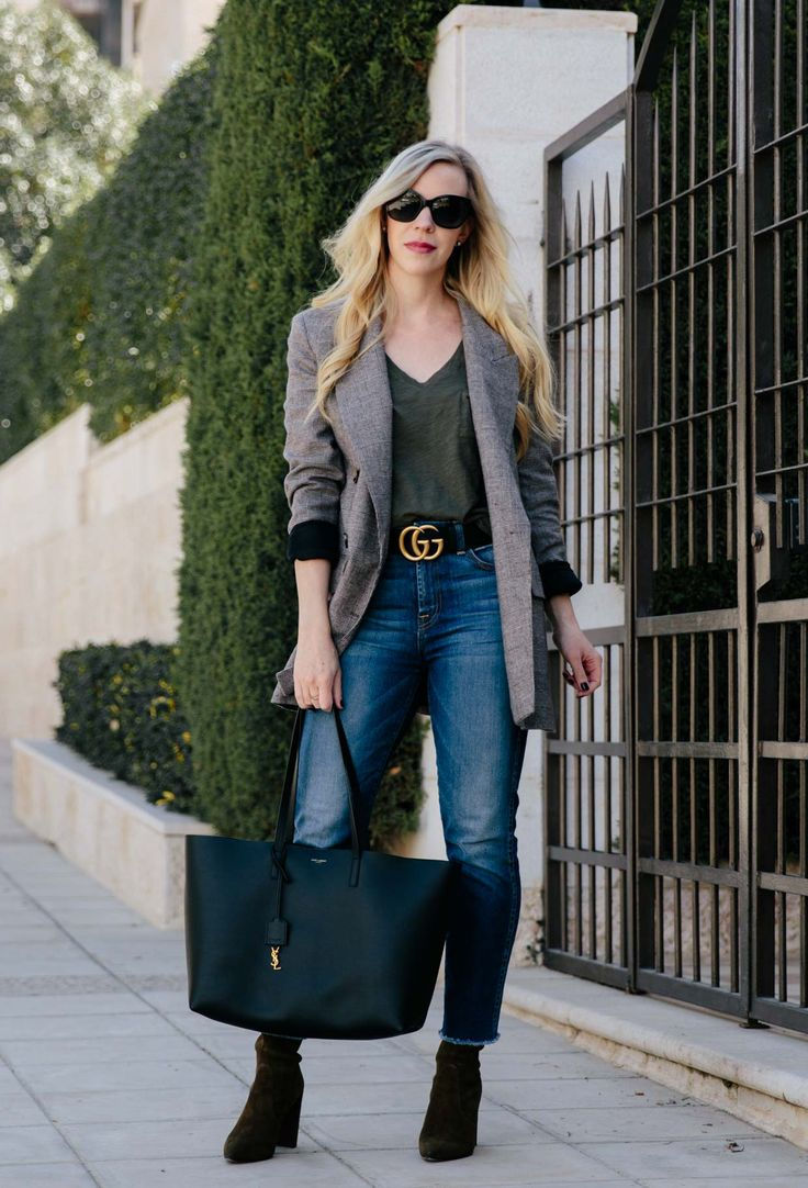 Plaid Blazer & Olive Accents: oversized plaid blazer with straight leg jeans, Gucci belt and olive sock boots, plaid blazer spring outfit