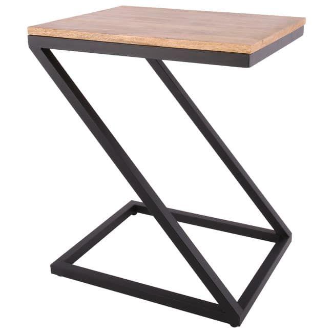 Tafel in een modern en landelijke stijl van zwart staal met mangohouten blad. Het mooie frame is in een z-vorm. Een duurzaam vervaardigd tafeltje door de gebruikte materialen.    Alleen voor binnen te gebruiken.    Afmetingen: 50 x 40 x 61.5 cm