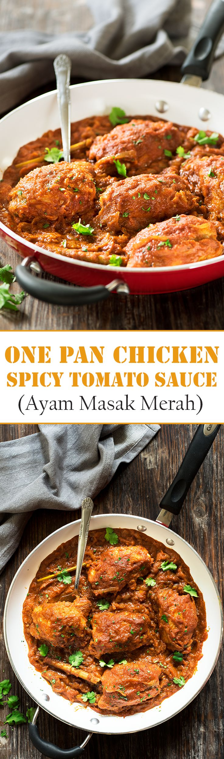 One Pan Chicken in Spicy Tomato Sauce (Ayam Masak Merah) - A classic Malay dish, chicken is seared & braised in a thick spicy, sweet sourish sauce made of a flavorful spice paste & tomato sauce. All in one pan!